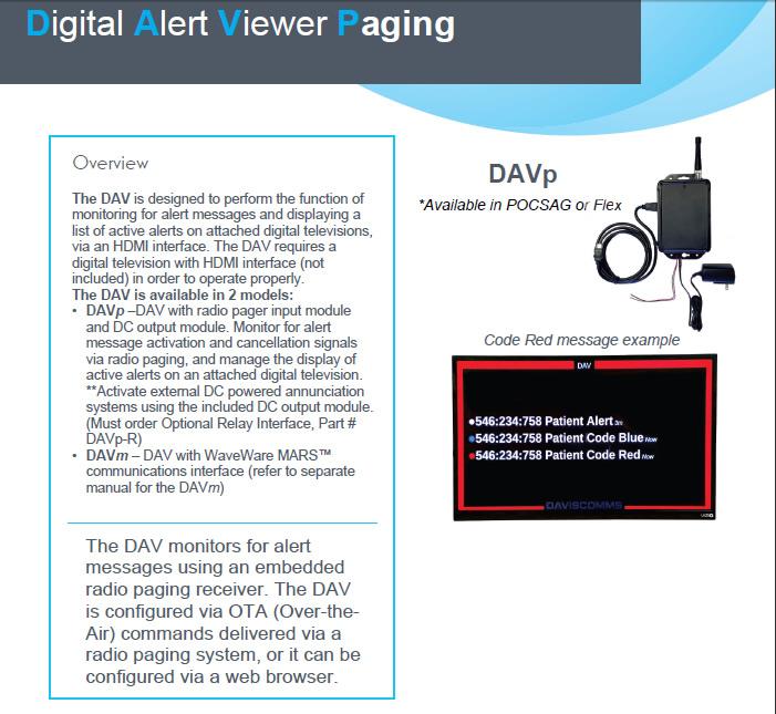 Digital Alert Viewer Paging information
